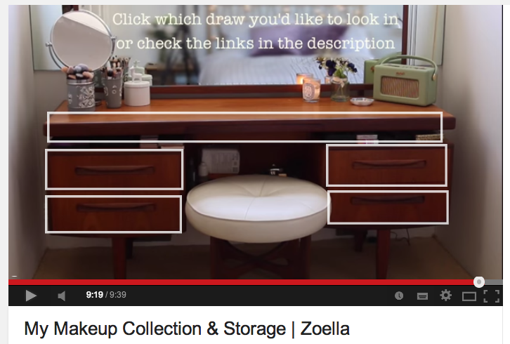 Annotations are also used on her channel as an extra layer of interactivity  as demonstrated in her  My Makeup Collection   Storage  video. YouTube Creator Stories  How Zoella Brought the Best Out of Her